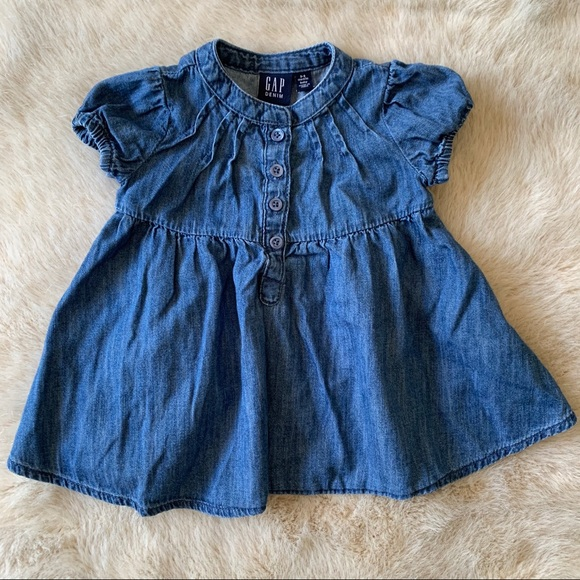 GAP Other - Baby GAP girls denim dress short sleeve buttons